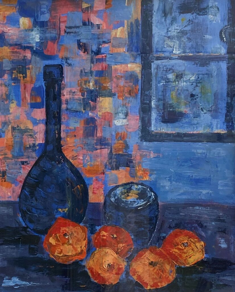 Blue Glass and Mandarins by Susan Barton