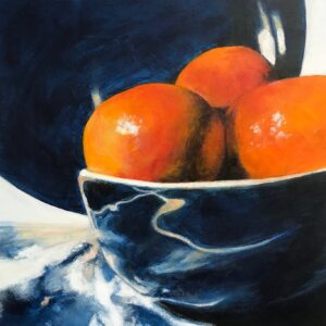 Blue bowl with Clementines by Chris Lewis