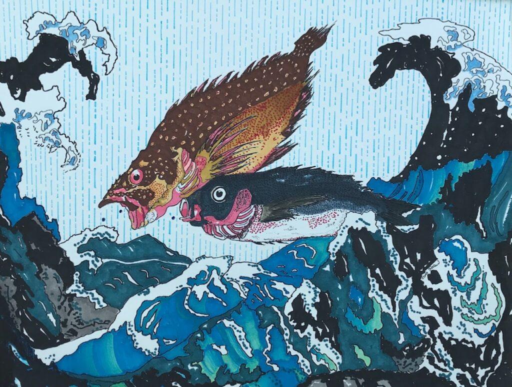 Adaptation of Hiroshige's Scorpion and Isaki fish by Tina Shaw