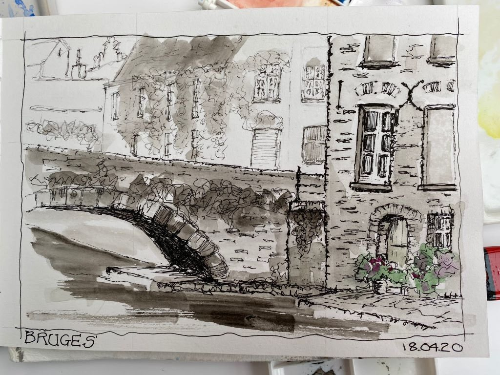 sketch of Brugges by Susan Barton
