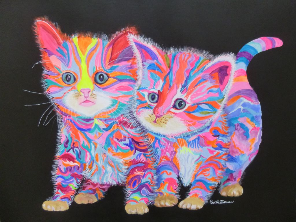 Two Quirky Kittens by Carole Jarman