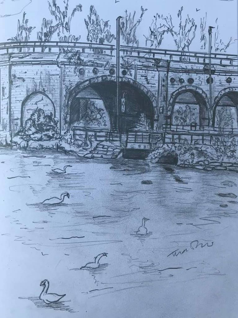 Sketch of bridge and ducks